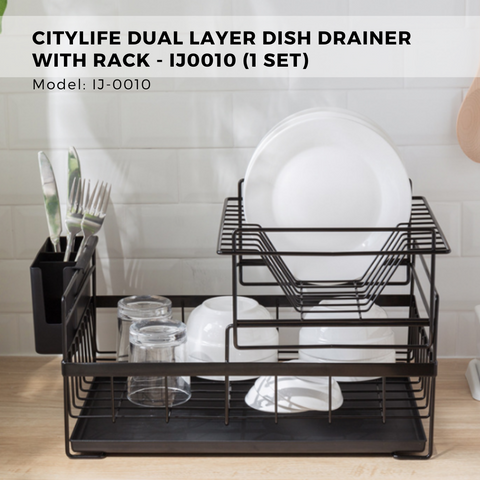 Citylife Dual Layer Dish Drainer with Rack - IJ0010 (1 Set)