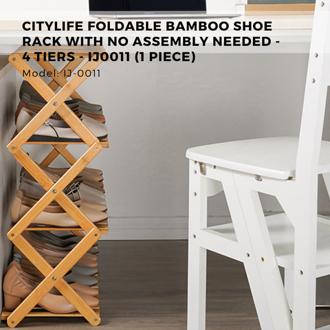 Citylife Foldable Bamboo Shoe Rack With No Assembly Needed - 4 Tiers - IJ0011 (1 Piece)