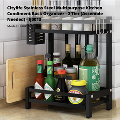 Citylife Stainless Steel Multipurpose Kitchen Condiment Rack Organizer - 2 Tier (Assemble Needed) - IJ0013