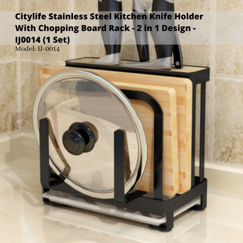 Citylife Stainless Steel Kitchen Knife Holder With Chopping Board Rack - 2 in 1 Design - IJ0014 (1 Set)