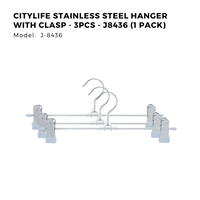 Citylife Stainless Steel Hanger with Clasp - 3pcs - J8436 (1 Pack)