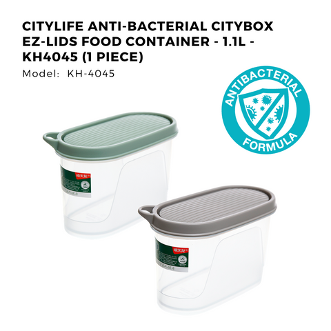 Citylife Anti-Bacterial Citybox EZ-Lids Food Container - 1.1L - KH4045 (1 Piece)