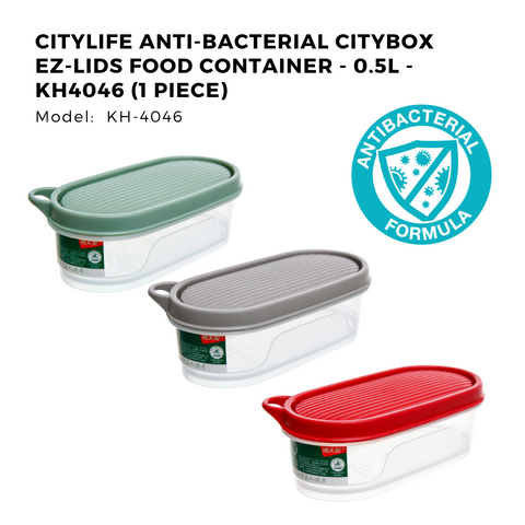 Citylife Anti-Bacterial Citybox EZ-Lids Food Container - 0.5L - KH4046 (1 Piece)