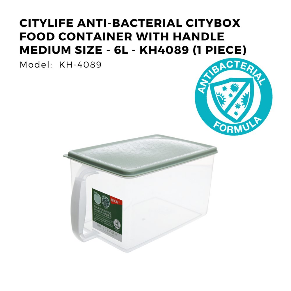 Citylife Anti-Bacterial Citybox Food Container with Handle Medium Size - 6L - KH4089 (1 Piece)