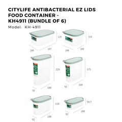 Citylife Antibacterial EZ Lids Food Container - KH4911 (Bundle of 6)