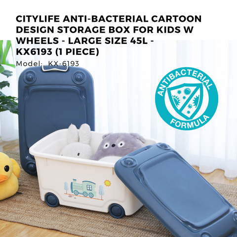 Citylife Anti-Bacterial Cartoon Design Storage Box for Kids w Wheels - Large Size 45L - KX6193 (1 Piece)