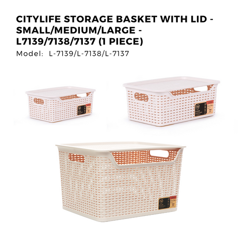 Citylife Storage Basket with Lid - Small/Medium/Large - L7139/7138/7137 (1 Piece)