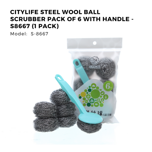 Citylife Steel Wool Ball Scrubber Pack of 6 with Handle - S8667 (1 Pack)