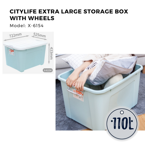 Citylife Extra Large Storage Box with Wheels (110L)