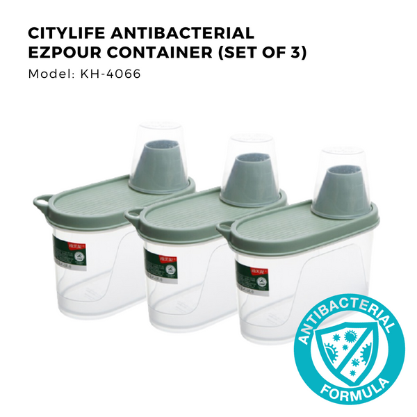 Citylife Antibacterial EZ-Pour Dry Goods Container - 1.1L - KH4066 (Set of 3 Pieces)