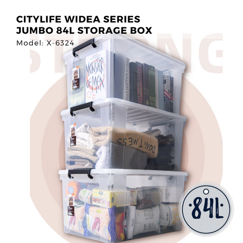 Citylife Widea Series JUMBO 84L Storage Box with Wheels - X-6324 (1 piece)