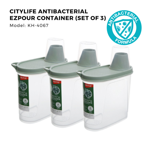 Citylife Antibacterial EZ-Pour Dry Goods Container - 1.7L - KH4067 (Set of 3)