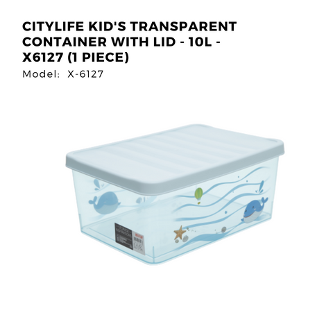 Citylife Kid's Transparent Container with Lid - 10L - X6127 (1 Piece)