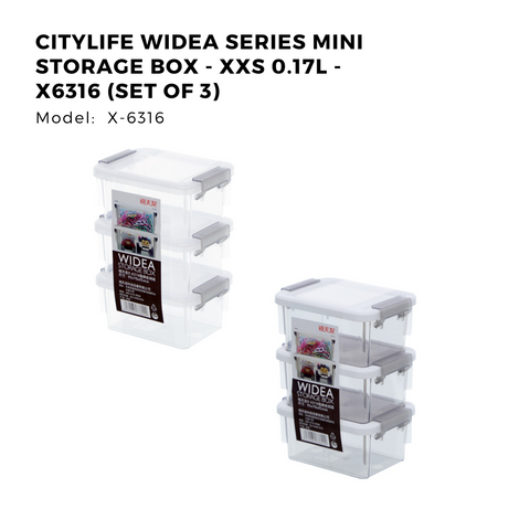 Citylife Widea Series Mini Storage Box - XXS 0.17L - X6316 (Set of 3)