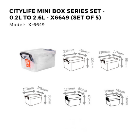 Citylife Mini Box Series Set - 0.2L to 2.6L - X6649 (Set of 5)