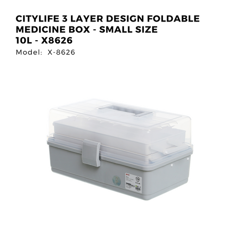 Citylife 3 Layer Design Foldable Medicine Box - Small Size 10L - X8626