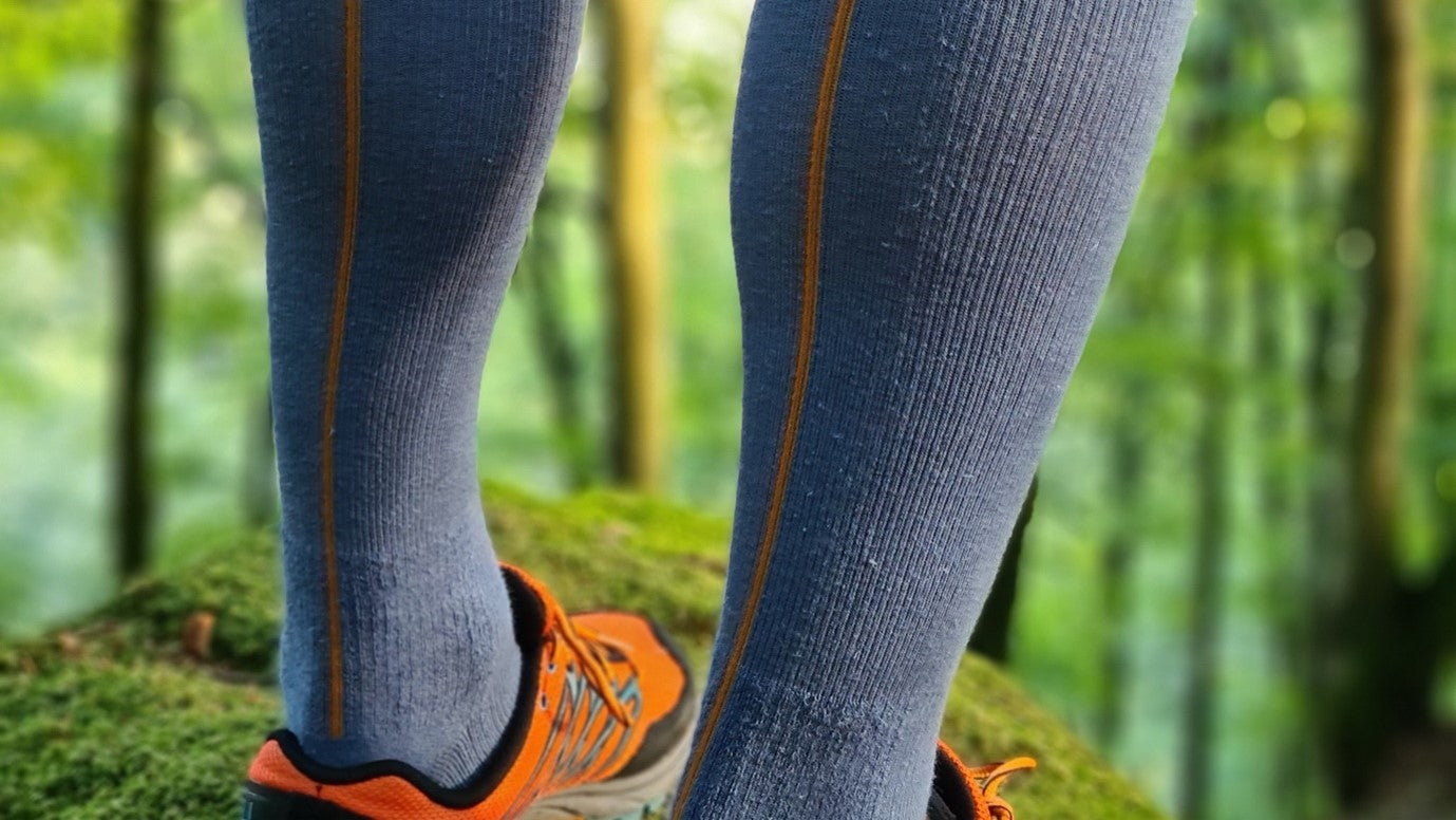 Hemp Compression Socks in Man Legs, Ensign Blue with Line Pattern Color Spice Route, Hemp Socks, Hemp Clothing, Hemp Wear, Skin Friendly Compression Wear, Antibacterial Socks, Durable Socks, Breathable Socks, Running, Hiking, Cycling, Sports, Outdoors | SHIN JARDBO