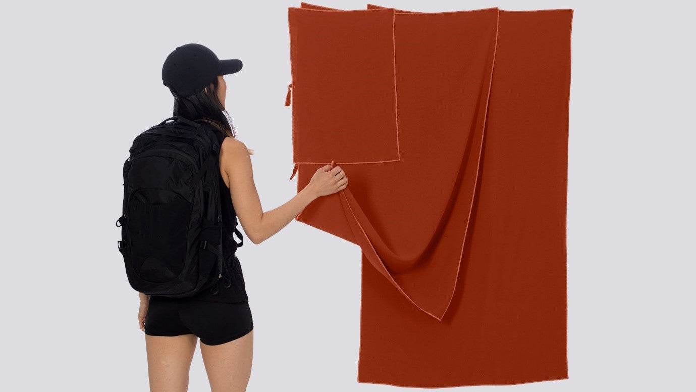 Raw Silk Travel Towels in 3 Different Sizes, Chili Oil Color, Sustainable Travel Outdoor Adventure Camping Hiking Trekking Backpacking Van Life | SHIN JARDBO