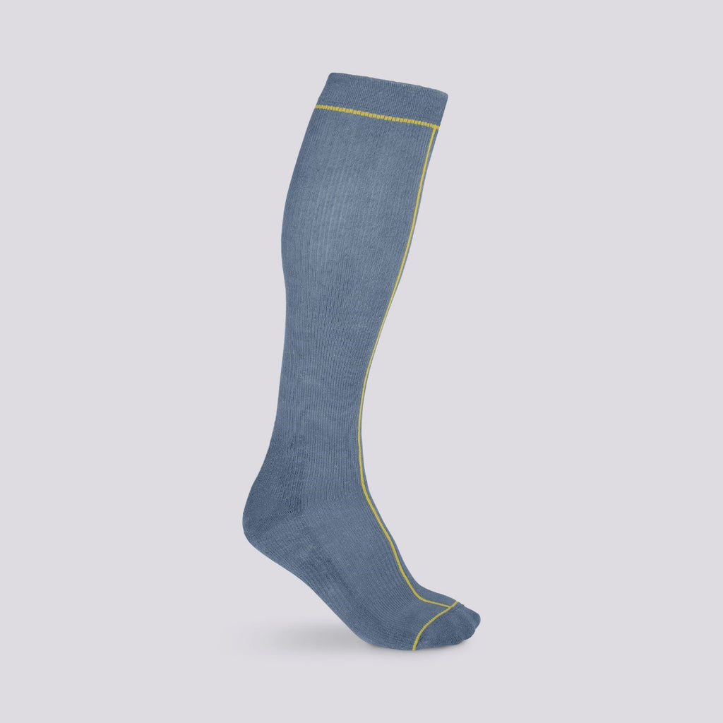 Hemp Compression Sock, Knee High, Ensign Blue with Line Pattern Colour Oil Yellow, Durable Breathable Antibacterial, Sustainable Fashion Minimal Design | SHIN JARDBO