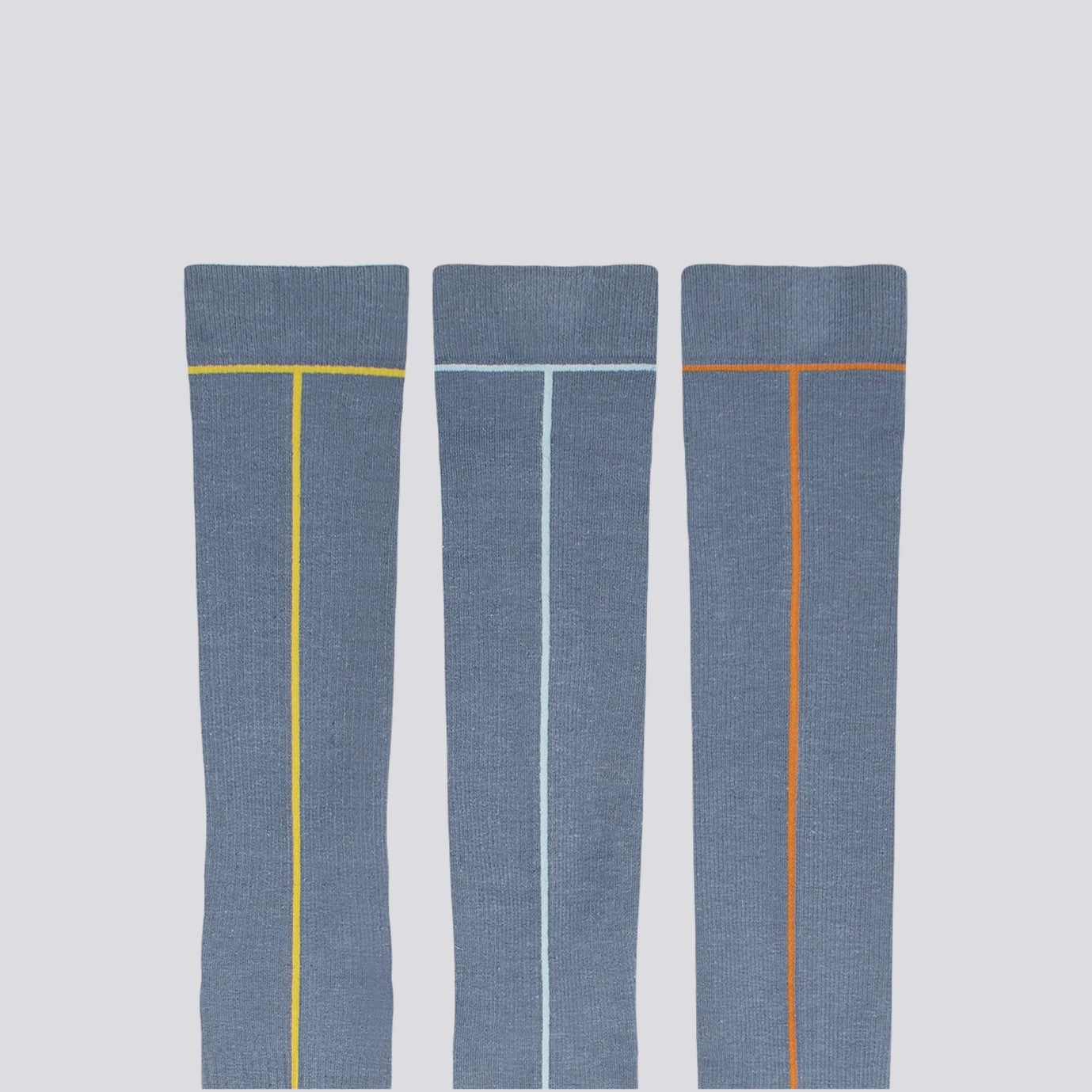 Hemp Compression Socks, Flat lay, 3 Colorways Ensign Blue with Line Pattern Colour Oil Yellow Sea Angel Spice Route | SHIN JARDBO