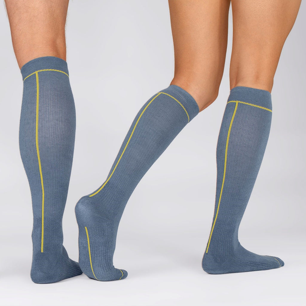 Hemp Compression Socks in Man and Woman Legs, Unisex, Knee High, Ensign Blue with Line Pattern Colour Oil Yellow, Back & Side views | SHIN JARDBO