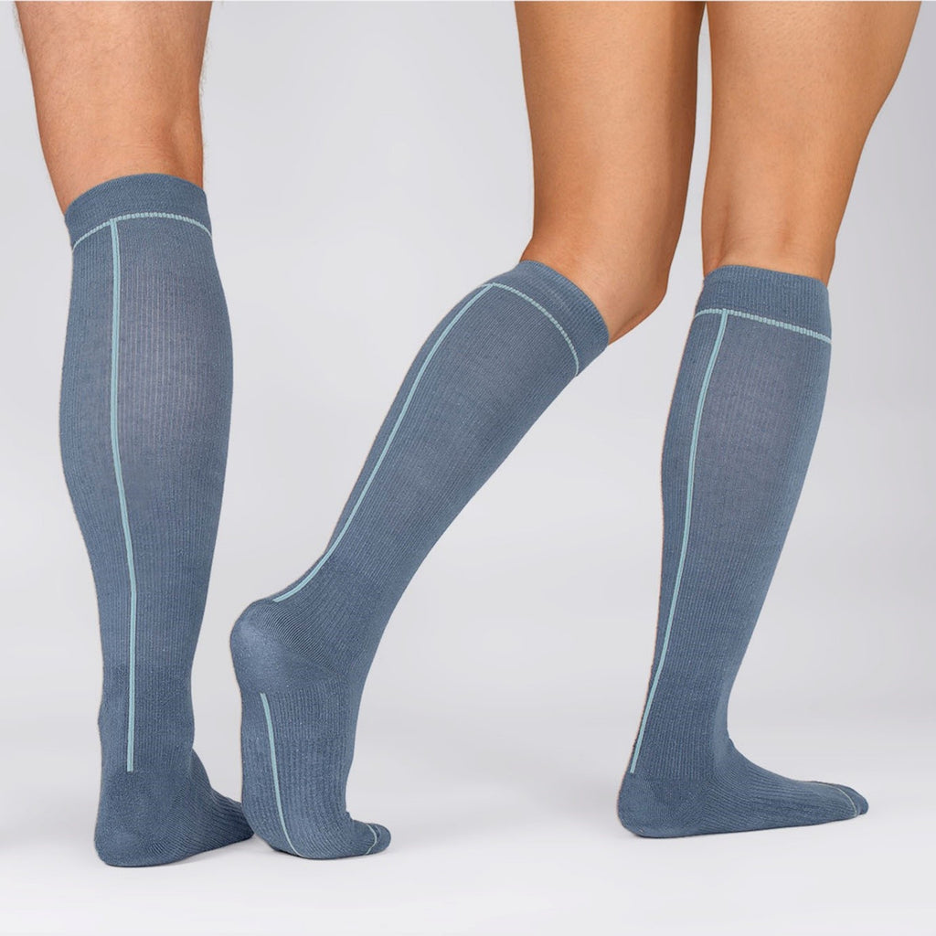 Hemp Compression Socks in Man and Woman Legs, Unisex, Knee High, Ensign Blue with Line Pattern Colour Sea Angel, Back & Side views | SHIN JARDBO