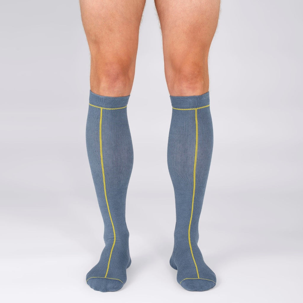 Hemp Compression Socks in Man Legs, Knee High, Ensign Blue with Line Pattern Colour Oil Yellow, Sustainable Travel Outdoor Sports Workout Fashion Design | SHIN JARDBO