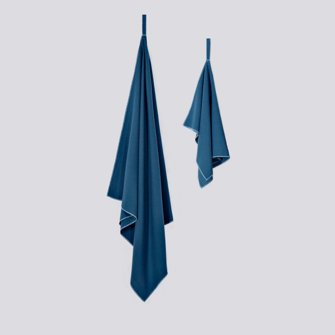 Raw Silk Travel Towel Set, Bantam Towel and Face & Hand Towel, Ensign Blue Colour, No Microfibre, Sustainable Travel Outdoor Camping Hiking Backpacking | SHIN JARDBO
