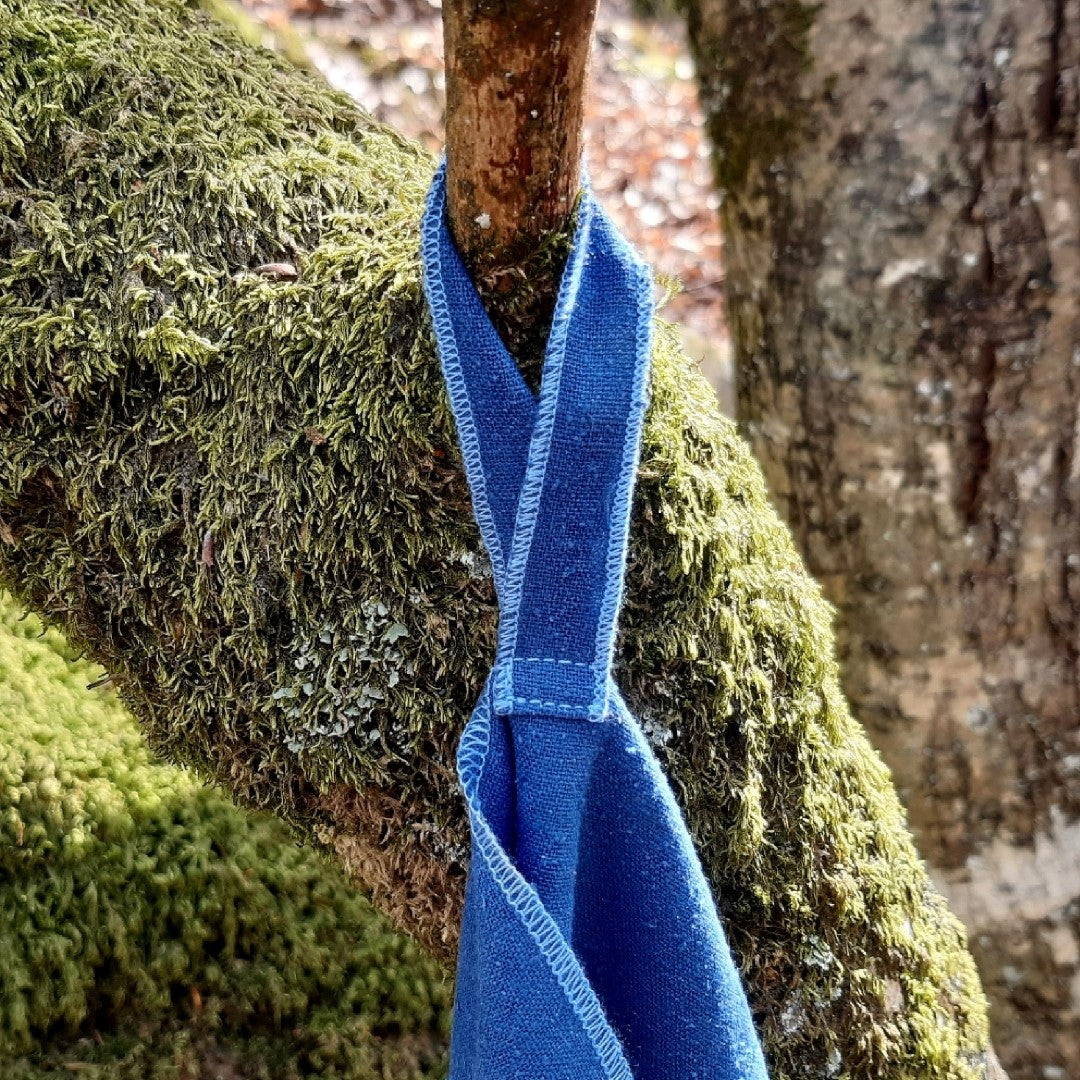 Travel Towel with Hanging Loop, Hanging from Tree Branch, Ensign Blue Color, Raw Silk or Silk Noil Material, No Microfibre Microplastic, Natural Biodegradable Eco Friendly, Sustainable Travel Outdoor Camping Hiking Backpacking | SHIN JARDBO