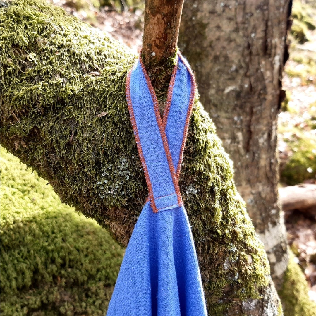 ravel Towel with Hanging Loop, Hanging from Tree Branch, Grapemist Color, Raw Silk or Silk Noil Material, No Microfibre Microplastic, Natural Biodegradable Eco Friendly, Sustainable Travel Outdoor Camping Hiking Backpacking | SHIN JARDBO