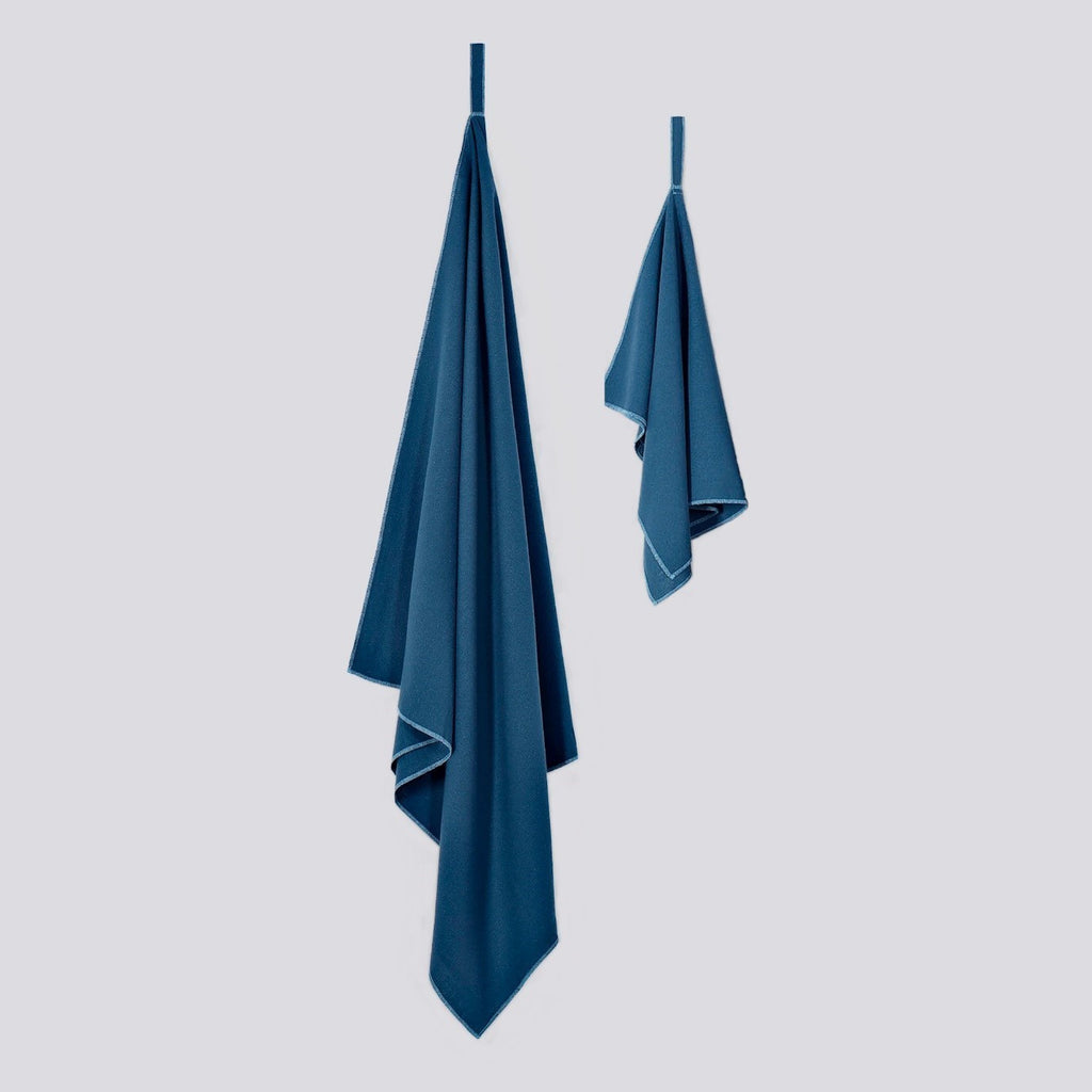 Raw Silk Travel Towel Set, Standard Towel and Face & Hand Towel, Ensign Blue Colour, No Microfiber, Sustainable Travel Outdoor Camping Hiking Backpacking | SHIN JARDBO