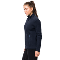 W Moonrise Ecosphere Jkt, an environmentally friendly, classic womens fleece jacket from Jack Wolfskin Australia and New Zealand.