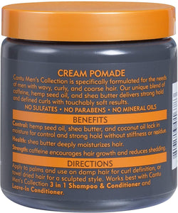 Cantu Haircare Cantu Shea Butter Mens Collection Cream Pomade Strong Hold, Soft Touch 8oz/227g