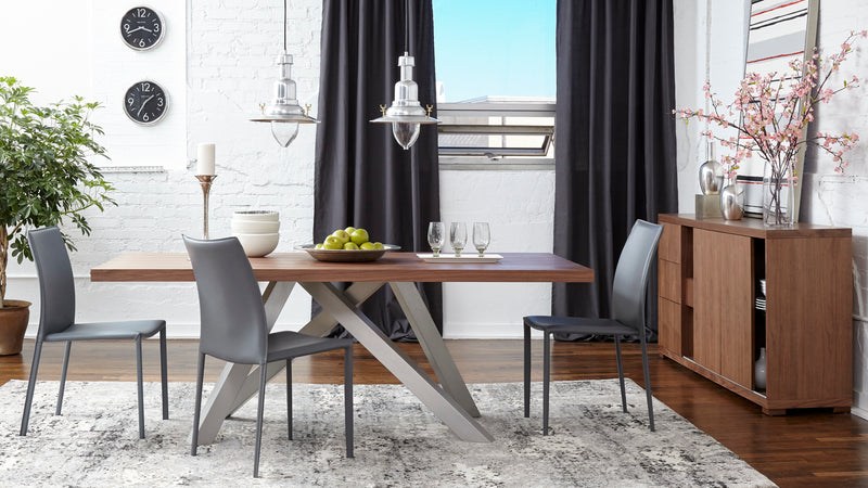 Elegant Walnut dining table with metal legs from Euro Style