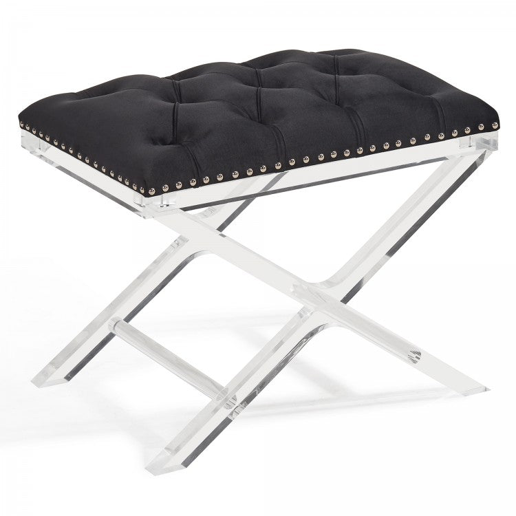 Cody Modern and Contemporary Tufted Ottoman in Black Velvet with Acrylic Legs
