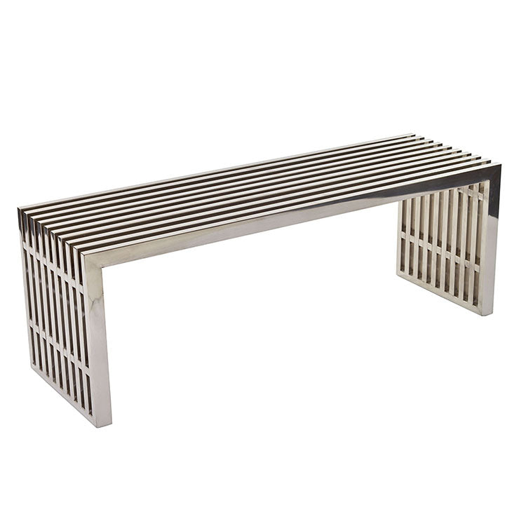 GRIDIRON STAINLESS STEEL BENCH IN SILVER