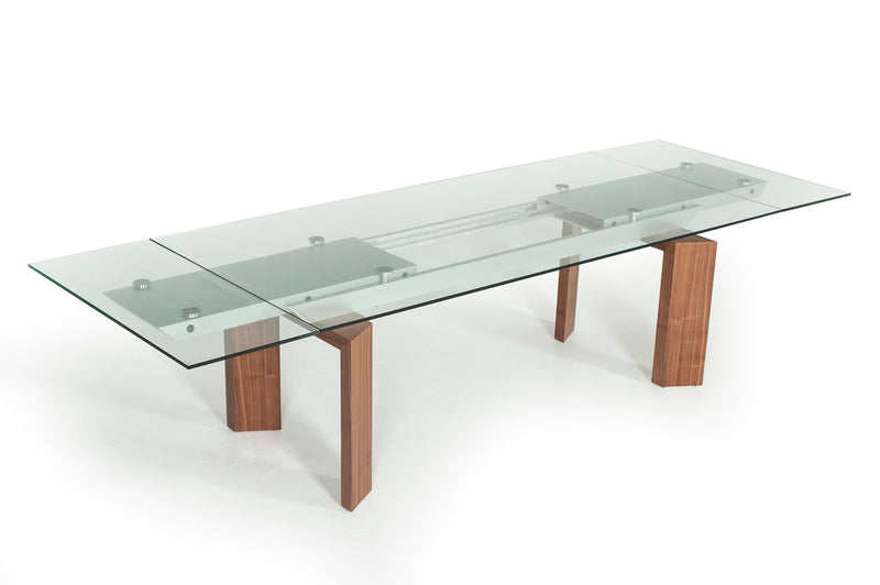 Bijou Contemporary Extendable Walnut & Glass Dining Table