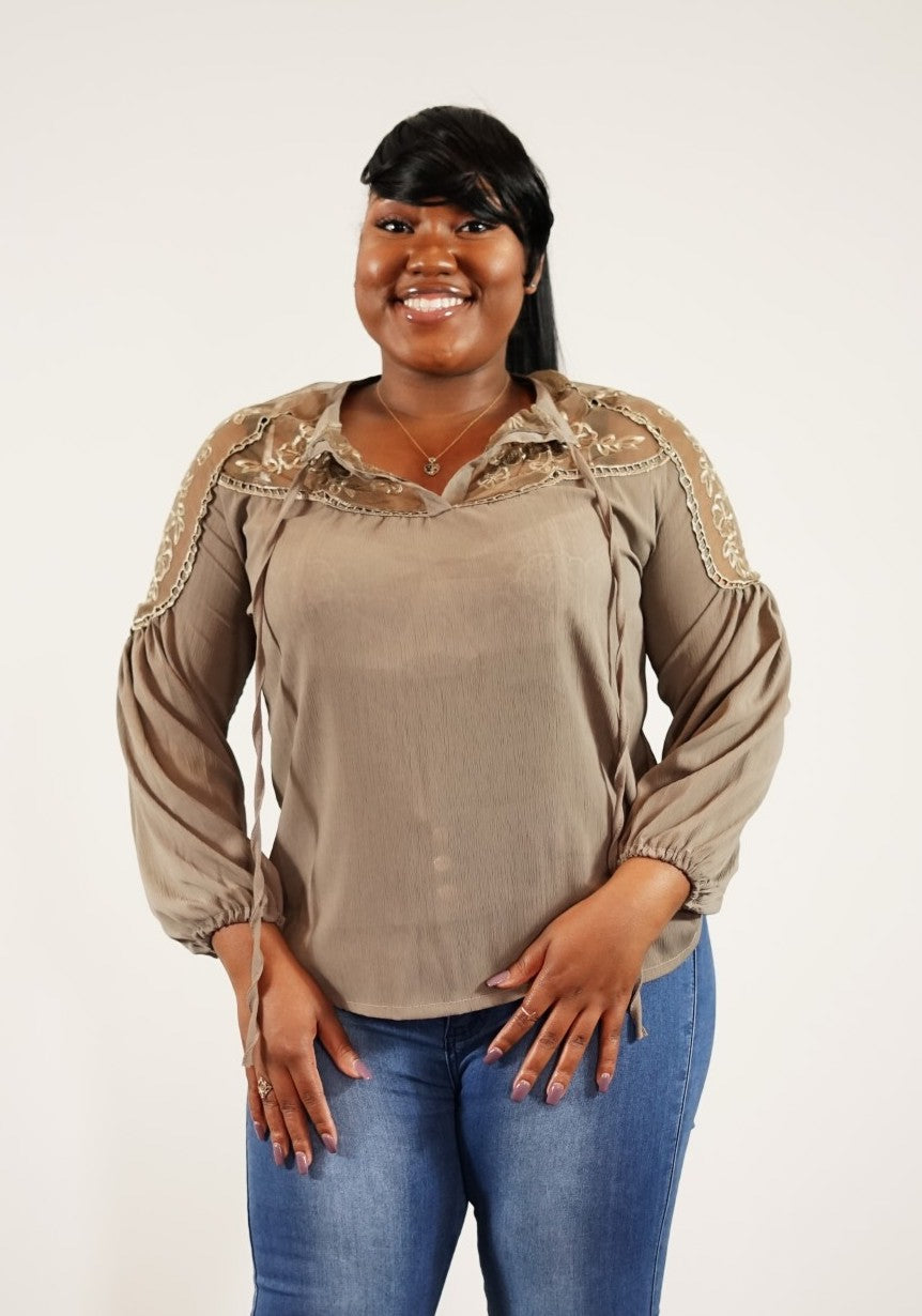 Front upper body view of plus size model in Trendy Widow Lace Blouse With Working Front Tie In Brown