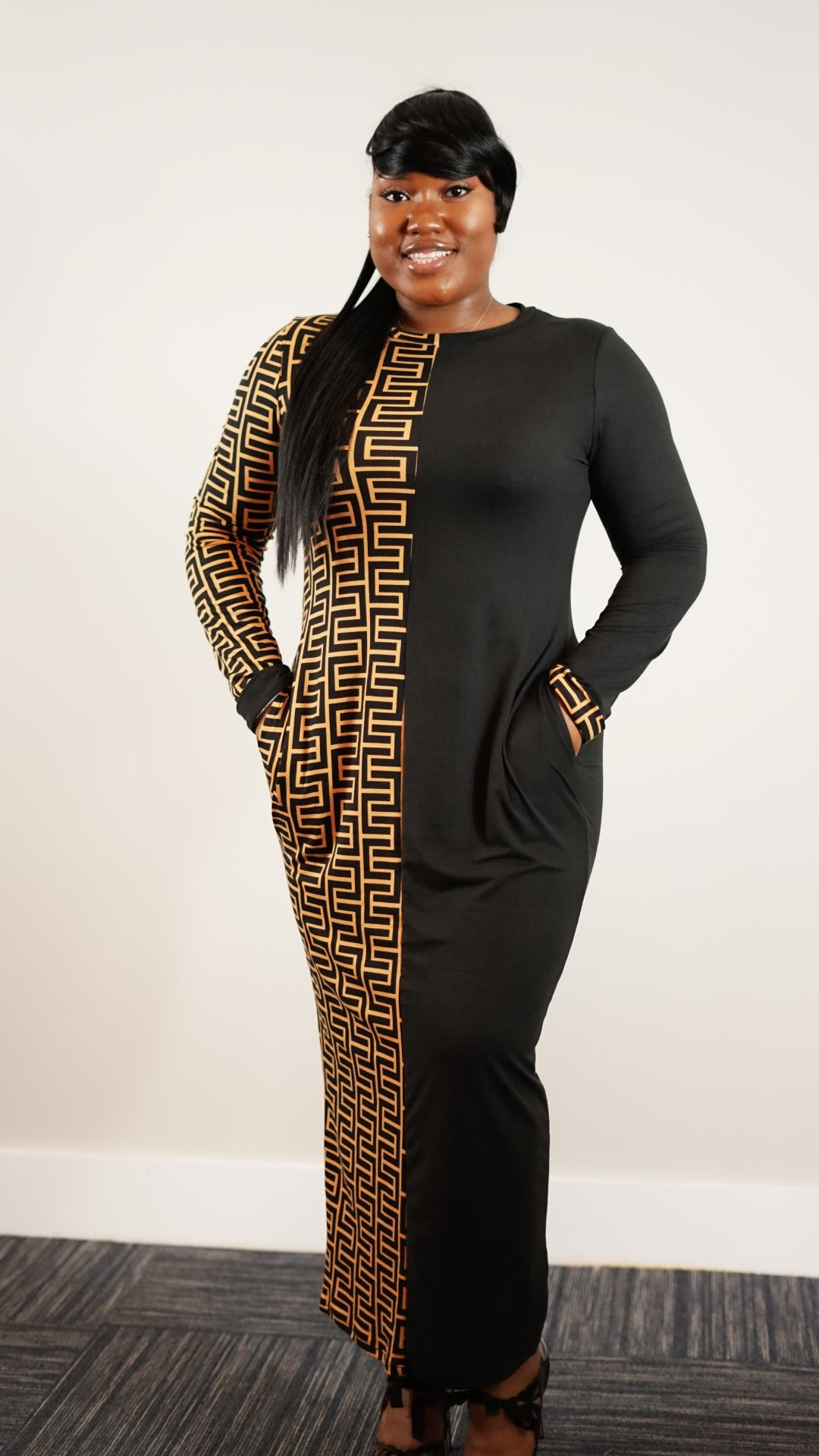 Front full body view of plus size model in Casual Leopard Printed Patch Maxi Dress With Pockets