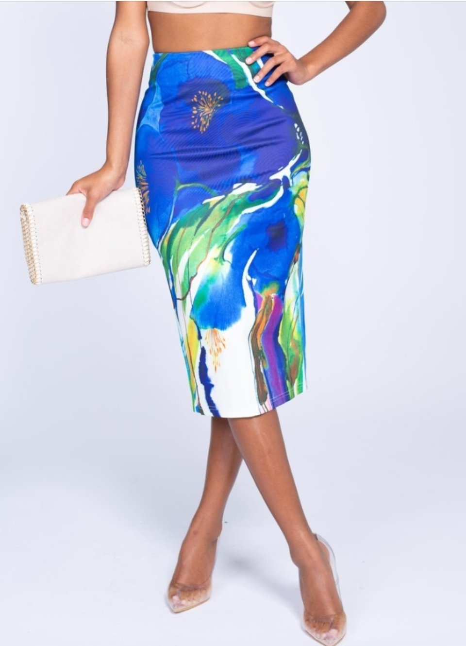 Front lower body view of plus size model in a Floral Watercolor Pencil Skirt