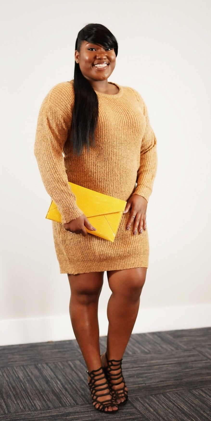 Front full body view of plus size model in a Soft Knit Sweater Dress In Relaxed Fit