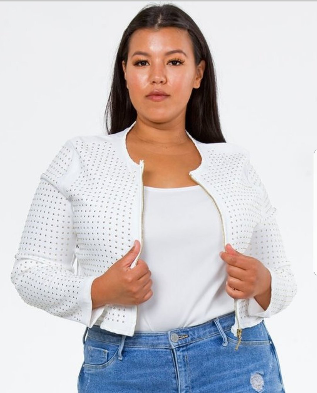 Front upper body view of a plus size model in a White Lily's Cotton Studded Jacket