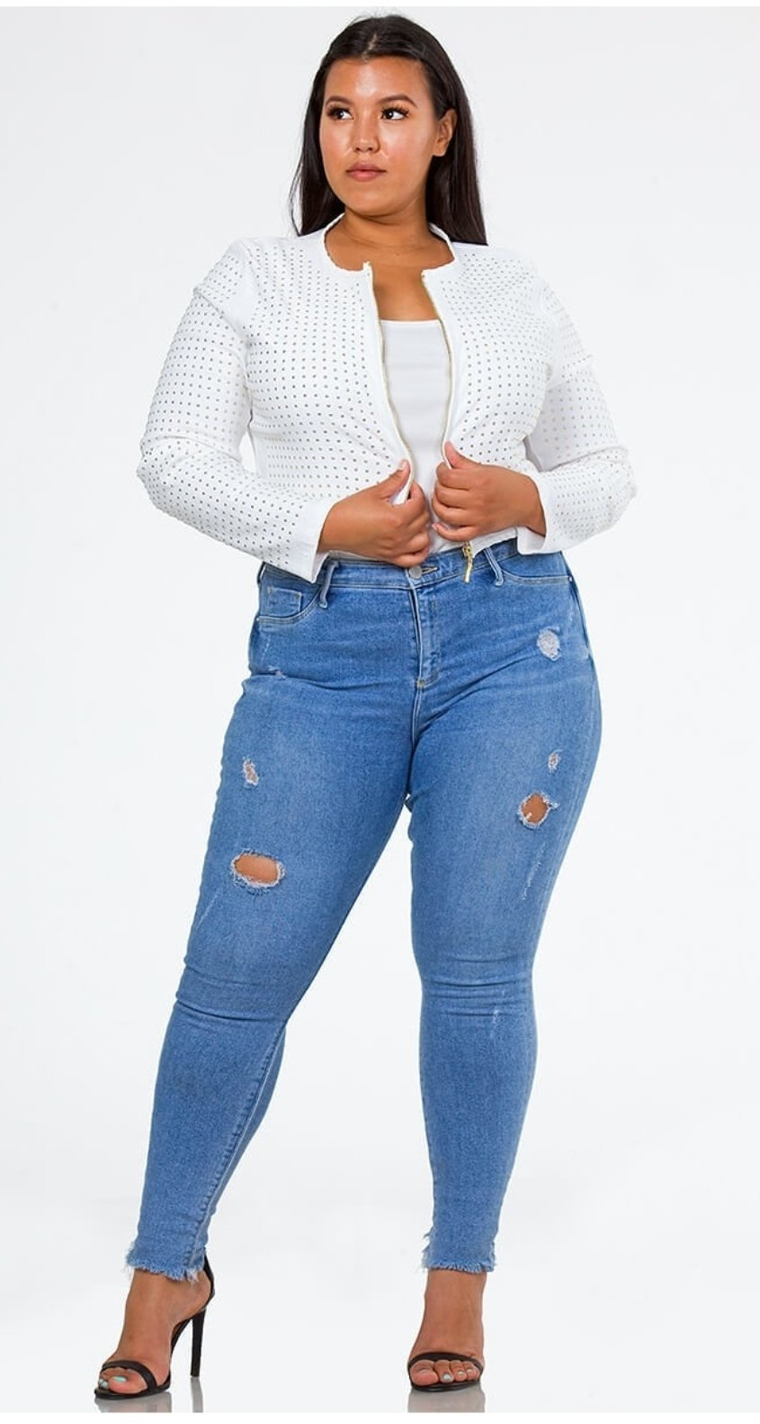 Front full body view of a plus size model in a White Lily's Cotton Studded Jacket