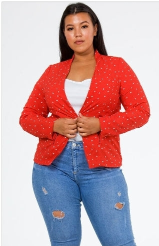 Front knee up view of a plus size model in a Red Heart of Hearts Blazer