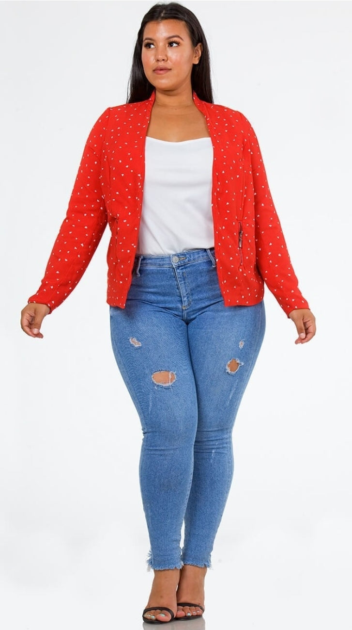 Front full body view of a plus size model in a Red Heart of Hearts Blazer
