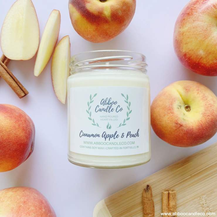 Cinnamon, Apple and Peach Soy-Based Scented Candles