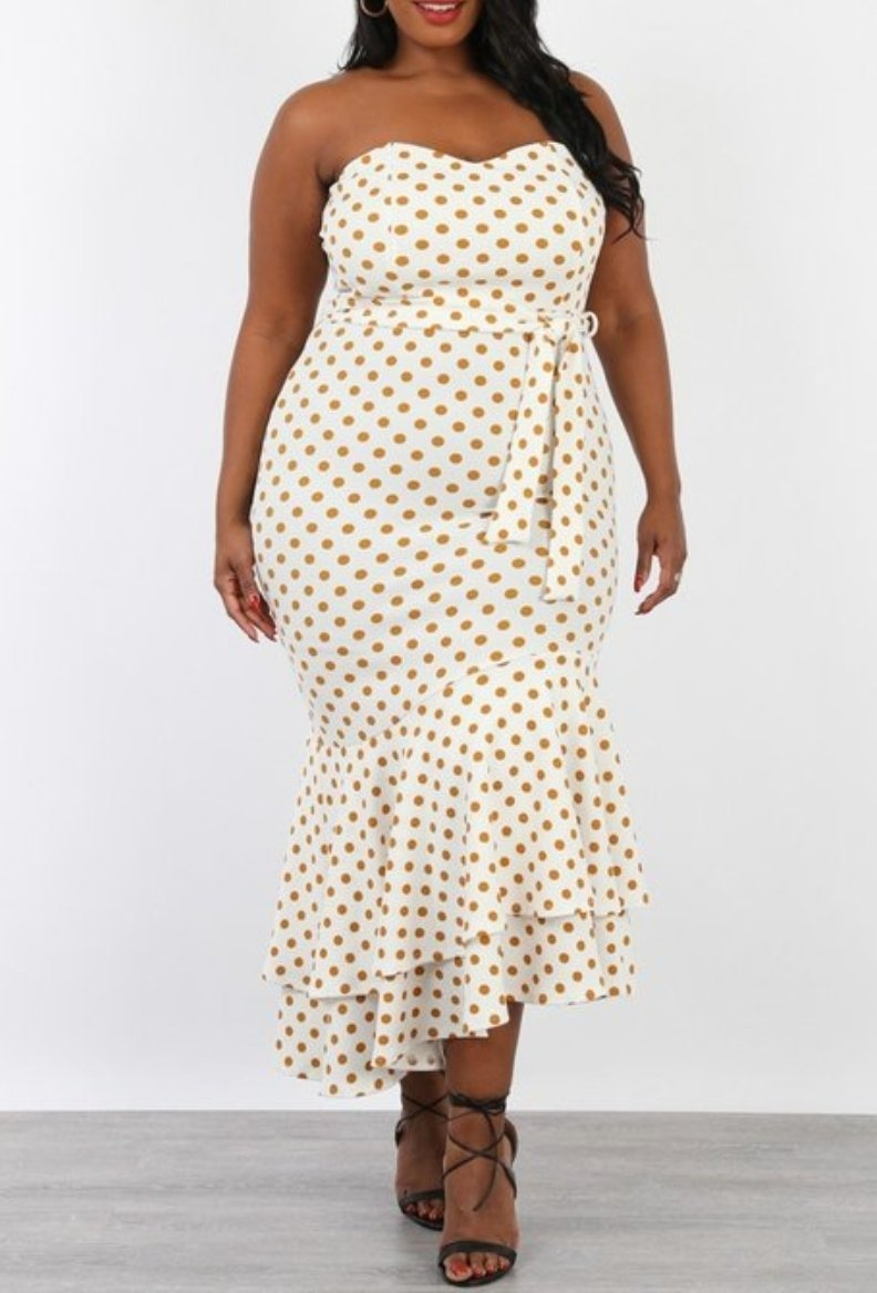 Front full body view of plus size model in a Ivory Polka Dot Print Tube Mermaid Style Dress