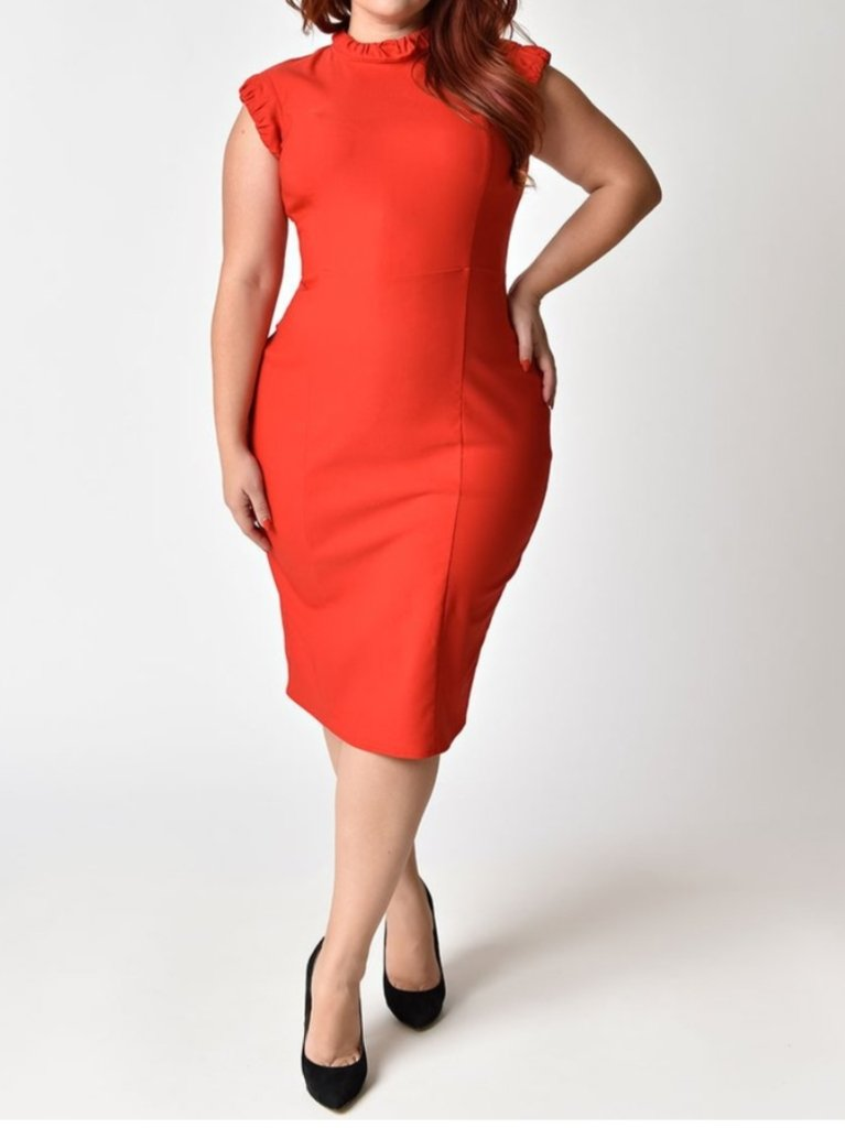 Front full body view of a plus size model in The Laverne Wiggle Vintage Red Dress