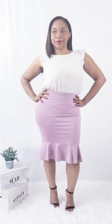Vijo -  Rose colored Ruffle Pencil Skirt - Caress Boutique LLC