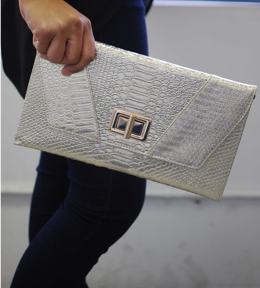 Crocodile Skin Evening Clutch with Chain Strap